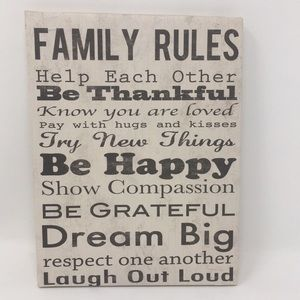 Wall Art Word Canvas Family Rules Laugh Brown